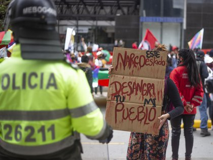 10/21/2020 Protests in Colombia against the recent spike in massacres.  File Image.  DANIEL GARZON HERAZO / ZUMA PRESS