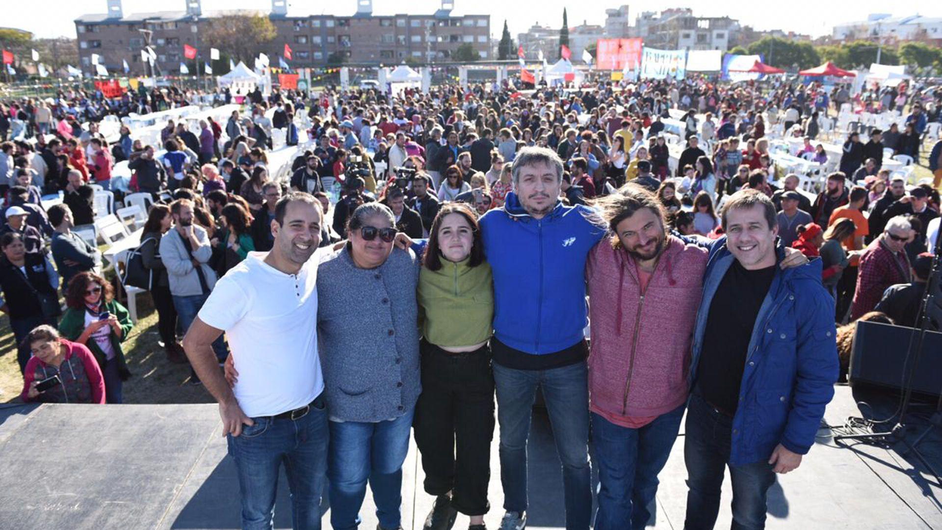 Juan Grabois junto a Máximo Kirchner y Mariano Recalde