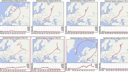 La trayectoria de la nube radioactiva de rutenio-106, desde los Urales del Sur (PNAS)