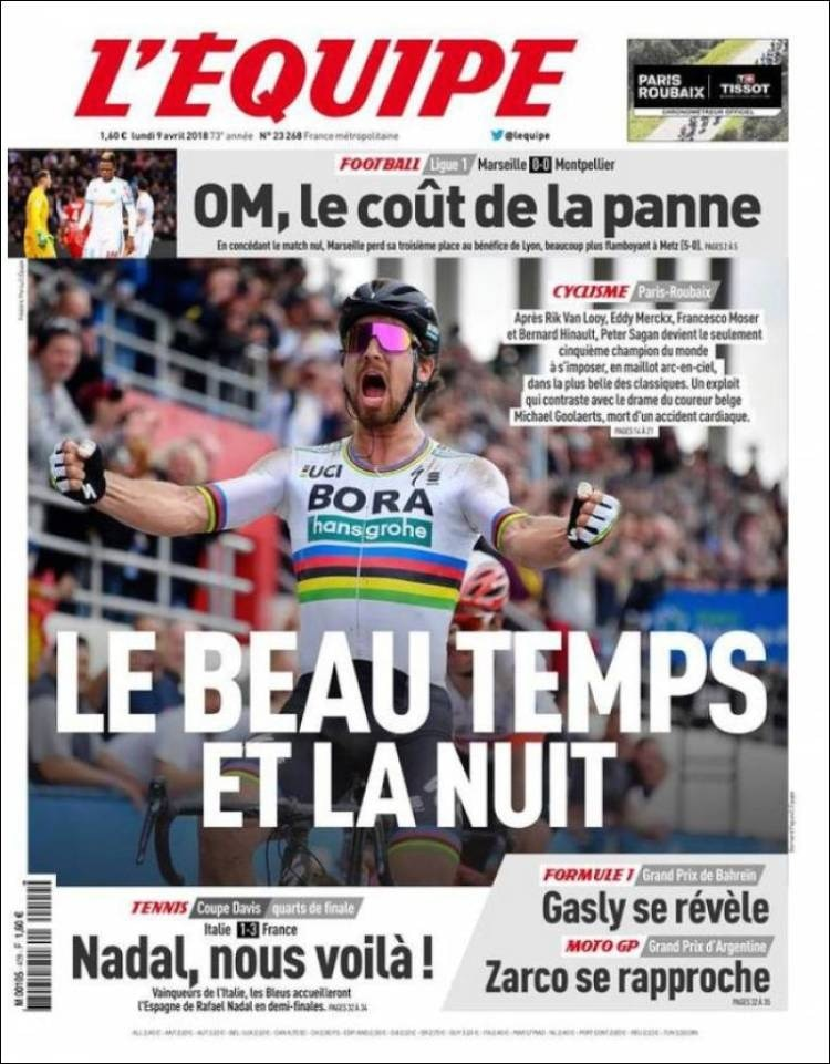 L Equipe Francia Lunes 9 De Abril De 2018 Infobae