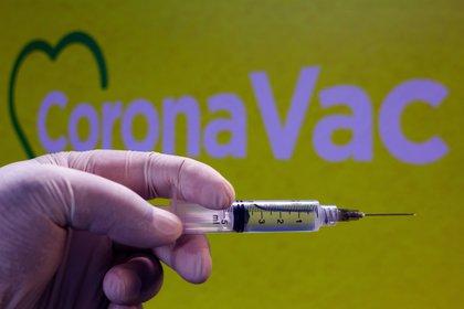 10/11/2020 Jeringuilla frente al logotipo de CoronaVac, vacuna china contra el coronavirus POLITICA INTERNACIONAL RAFAEL HENRIQUE / ZUMA PRESS / CONTACTOPHOTO