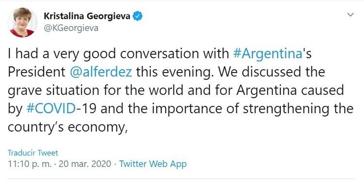 La directora gerente del FMI, Kristalina Georgieva, mostró un muy buen nivel de diálogo con el Gobierno