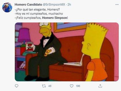 Homero Simpson meme (captura Twitter)