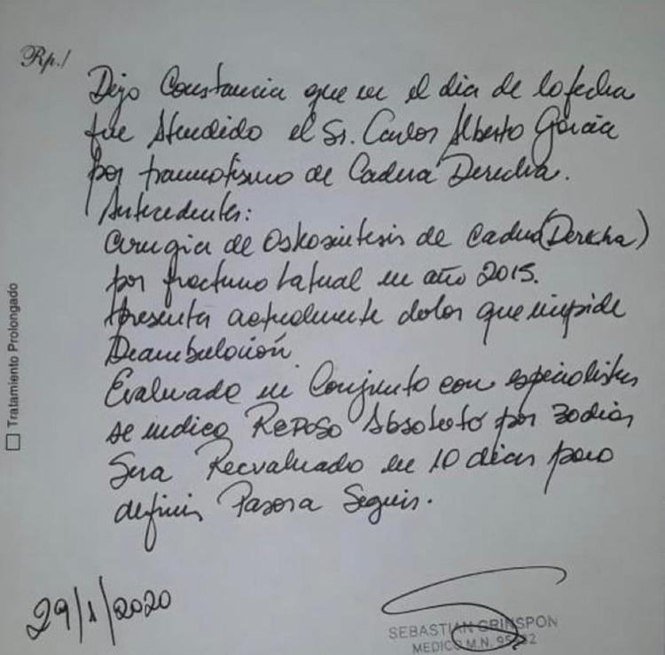 El certificado médico, firmado por el doctor Sebastián Grinspon