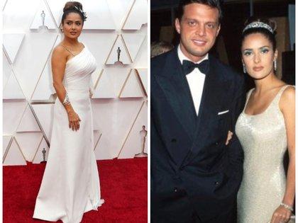 La pareja asistió a los premios de la Academia en 1997 (Foto: Reuters (izquierda) / Instagram @salmahayek (derecha))