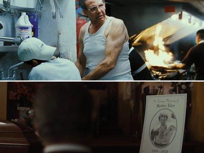 Arriba: Lovell en la Rocky Balboa que se estrenó en el 2006. Abajo: la escena eliminada de Creed II donde Rocky va al funeral de Spider Rico