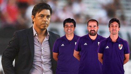 Matías Biscay, Pablo Dolce y Hernán Buján, parte del equipo técnico formado por Gallardo.