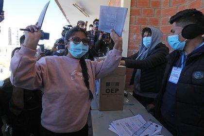 Eva Copa, la revelación política de los comicios subnacionales en Bolivia, triunfó en El Alto (EFE)