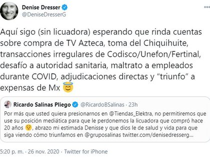 Denise Respuesta Dresser (Foto: Twitter @ DeniseDresserG)