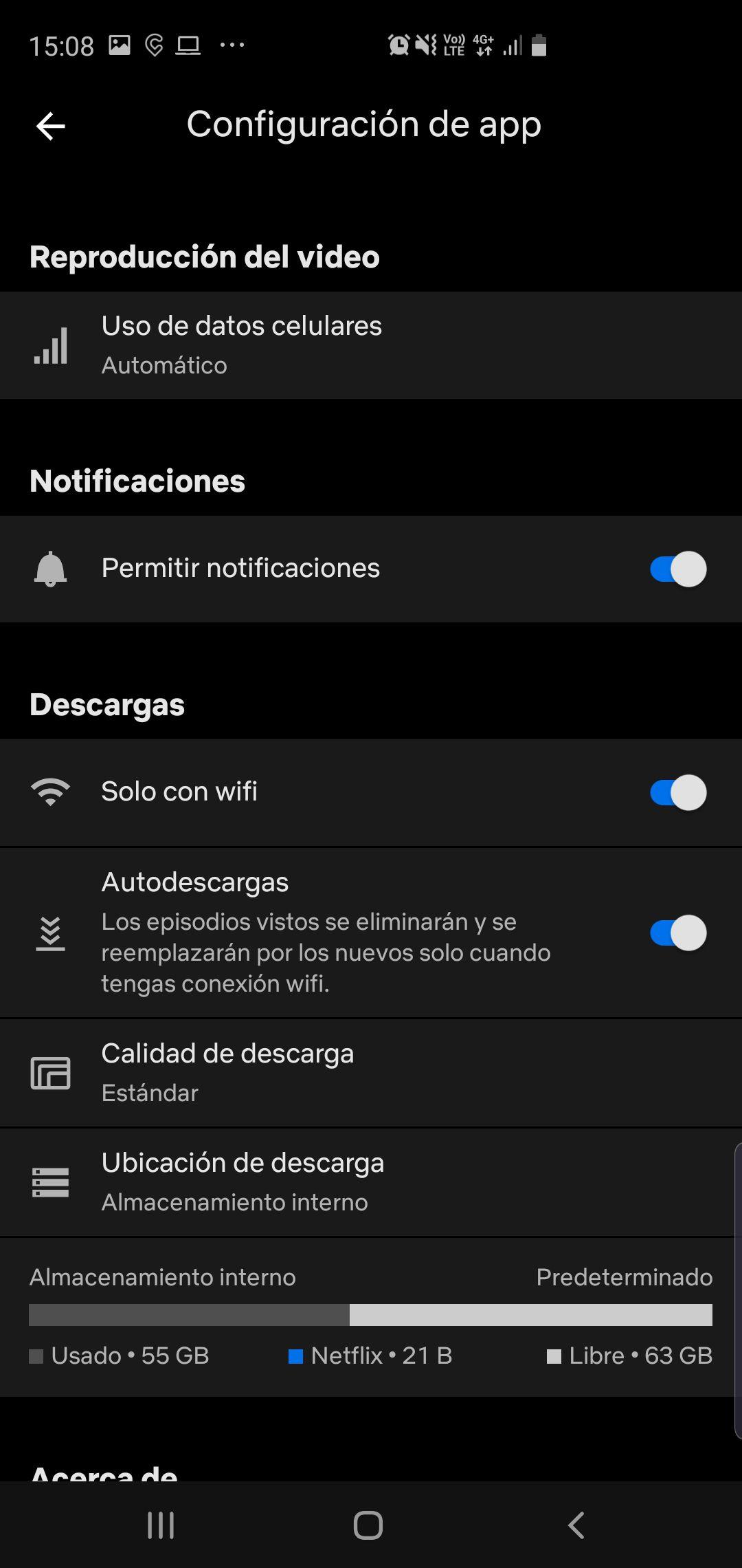 Dentro de la opción Configuración de la app se pueden hacer varios ajustes.