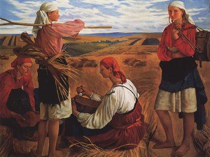 """Cosecha"" (1915) de Zinaída Serebriakova (Museo de Odessa, Ucrania)"