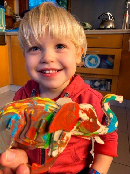 Mirko le regaló un elefante pintado a su papá (Instagram)
