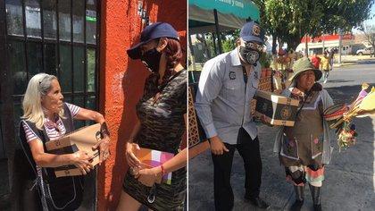 Alejandrina Guzmán, hija del fundador del cártel de Sinaloa, repartió despensas a las personas de la tercera edad (Foto: Facebook/El Chapo Guzmán)