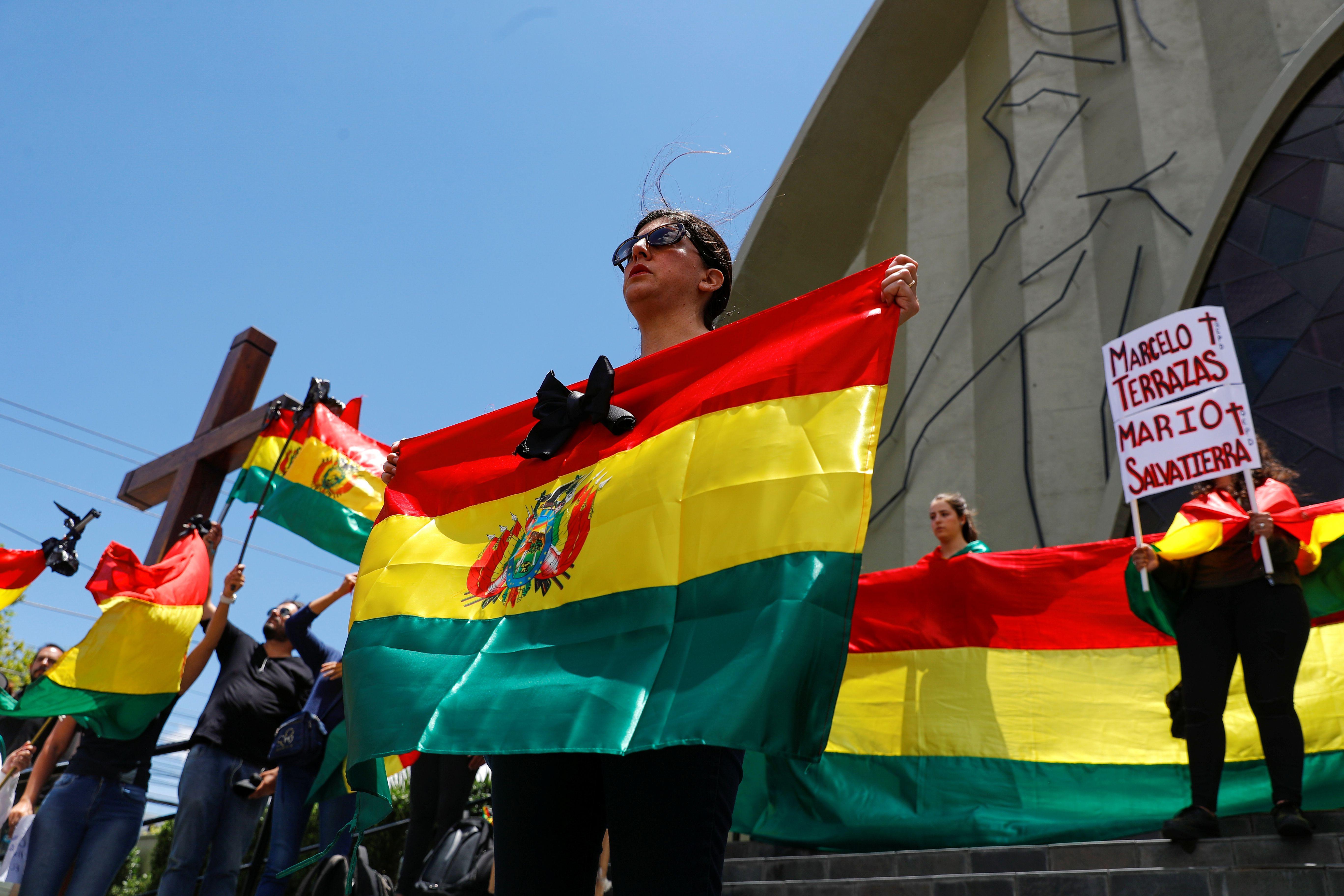 Homenaje en La Paz a los dos manifestantes asesinados el miércoles en Santa Cruz (REUTERS/Kai Pfaffenbach)