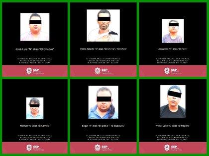 Rostros de los detenidos por autoridades veracruzanas (Foto: Twitter / @SP_Veracruz)
