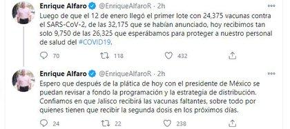 El mandatario denunció la falta de vacunas (Foto: Twitter)