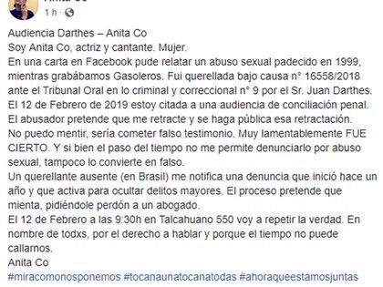 La carta de Anita Co en Facebook