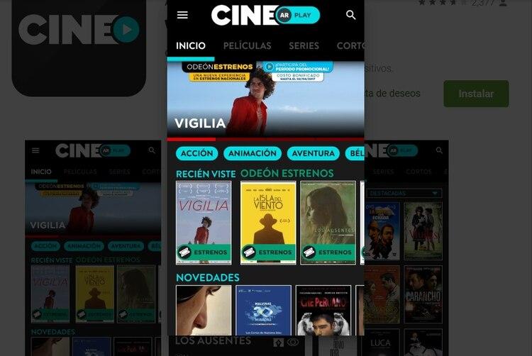El sitio permite ver películas argentinas sin costo (Captura de Cine.Ar).