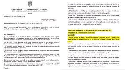 Decreto 10/2020 emitido por el Gobierno de la Provincia de Buenos Aires en enero de este año, que establece el rol de fiscalización del Ministerio de Salud respecto de las clínicas privadas