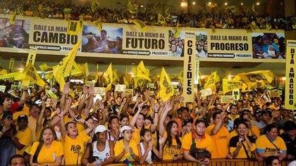 Miembros del partido político Primero Justicia, en un acto en Caracas