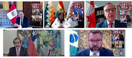 Foto de la reunión virtual del Grupo de Lima del 13 de octubre.