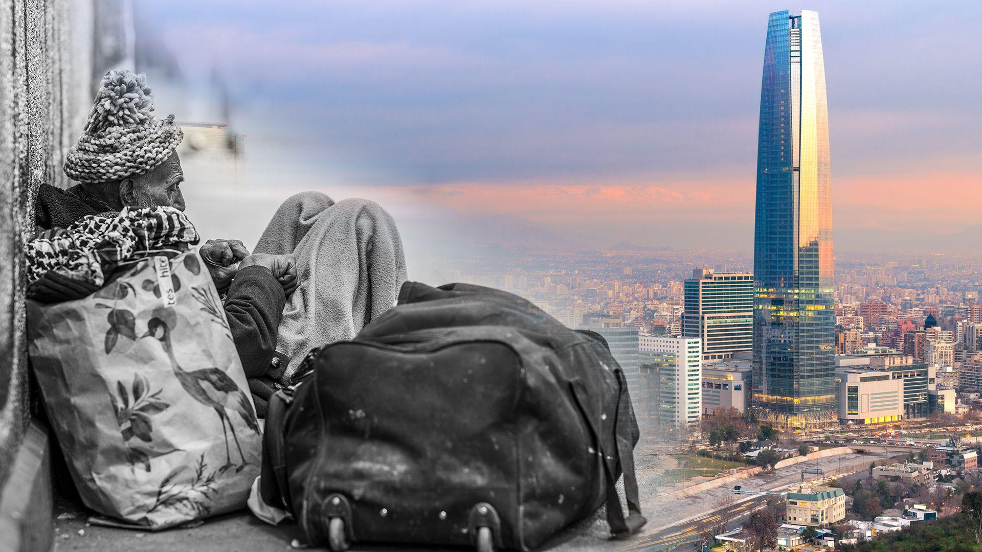 A la izquierda, un hombre sin techo en una calle de Santiago. A la derecha, la Gran Torre Santiago, símbolo de la opulencia de la capital del país (Shutterstock)