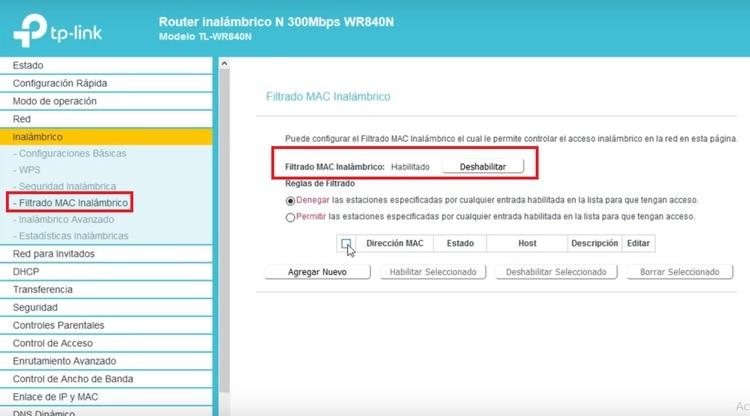 El filtrado por MAC se hace desde el menú de ajustes del router.