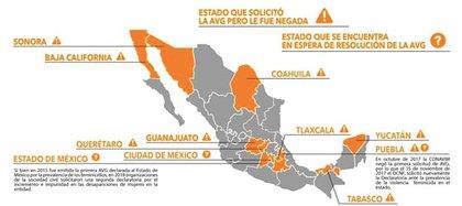 Estados que solicitaron la declaratoria de AVG pero les fue negada y los tres estados que esperan la resolución (Foto: Facebook OCNFeminicidio México)
