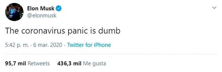 El primer tuit de Elon Musk sobre el coronavirus.
