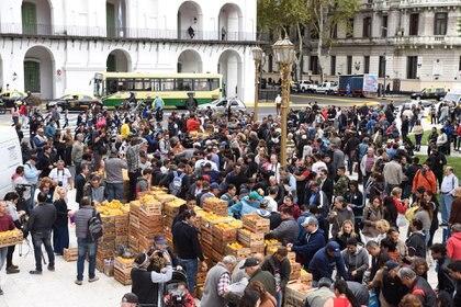 En el marco del 'frutazo', los productores plantearon sus dificultades para operar con el Mercado Central de Buenos Aires. (Franco Fafasuli)