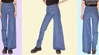 Los jeans asimétricoscombinan una pierna skinny y la otra acampanada (Neiman Marcus)