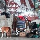 Un hombre en situación de calle descansa junto a sus perros y pertenencias hoy, en la Villa 21 de Buenos Aires (Argentina). EFE/Juan Ignacio Roncoroni