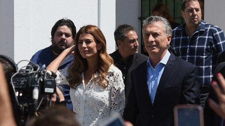 Mauricio Macri y Juliana Awada, al llegar a la Basílica de Luján (Gustavo Gavotti)