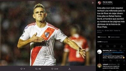 Hinchada de River Plate reconoció sentido de Pertenencia de Rafael Santos Borré con el club 'Millonario' tras rechazar jugosa oferta de Palmeiras / (Twitter: @pieldegallina9).