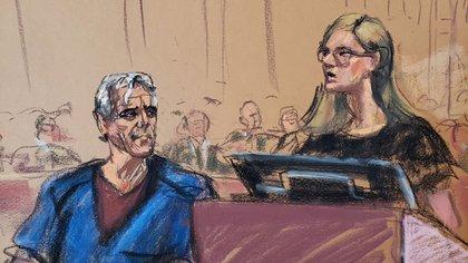 Ilustración de Epstein en la corte (Reuters)