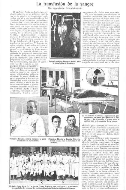 Interior de la Revista Caras y Caretas del 5/12/1914 donde se publicó una nota sobre la transfusión de la sangre, un descubrimiento revelador del doctor Luis Agote y que cambiaría la historia del ejercicio de la medicina.