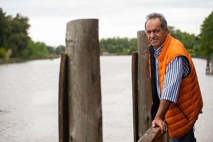 Scioli suele navegar cotidianamente en el Delta del Tigre