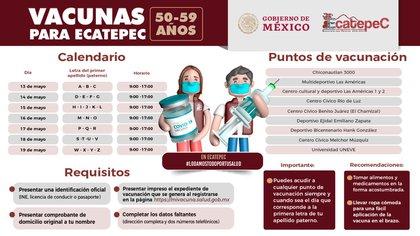 Calendar and vaccination centers in Ecatepec (Photo: Twitter / @ Ecatepec)