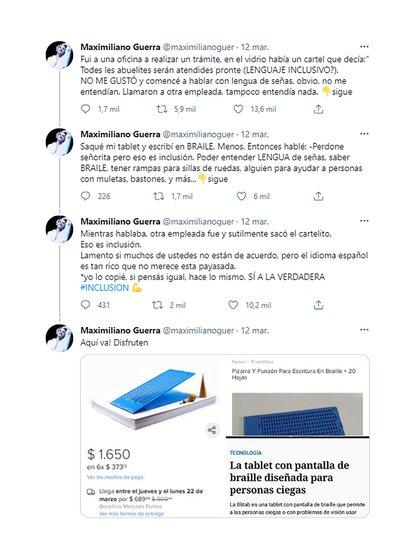 Los mensajes de Maximiliano Guerra en Twitter