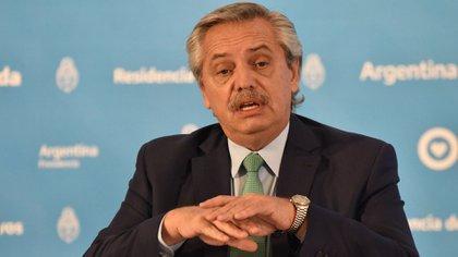 Alberto Fernández, durante la conferencia de prensa en la Quinta de Olivos (Franco Fafasuli)