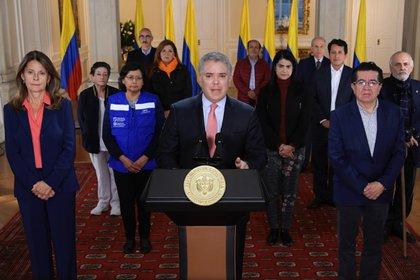 El presidente Iván Duque envió un mensaje a los colombianos en el inicio del aislamiento obligatorio de 19 días para contener la expansión del coronavirus.  Cortesia de la Presidenca de Colombia