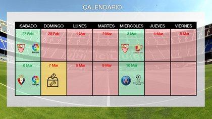 El calendario de las próximas dos semanas del Barcelona