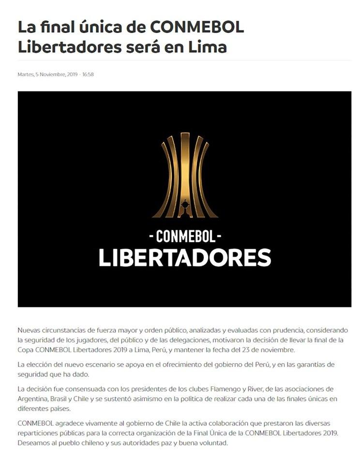 El comunicado de la Confederación Sudamericana