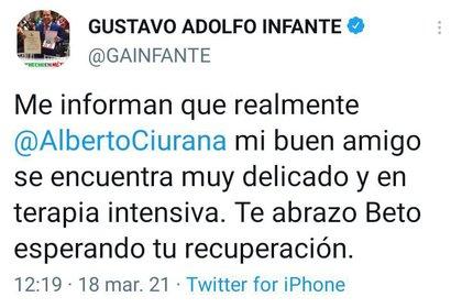 Gustavo Adolfo Infante confirmó el estado de salud de Alberto Ciurana, quien se encontraba en terapia intensiva