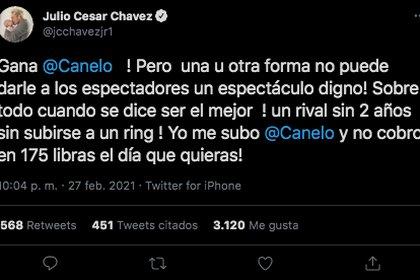 """Julio César Chávez Jr. demeritó la victoria del """"Canelo"""", pues consideró de poco nivel que el mexicano combatiera contra un deportista que tenía ya varios años sin pararse en el cuadrilátero (Foto: Captura de pantalla/Twitter @jcchavezjr1)"""