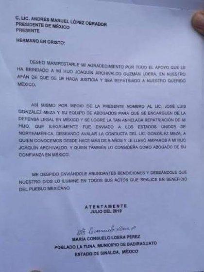 Cartas mamá  del Chapo (Foto: Cortesía)