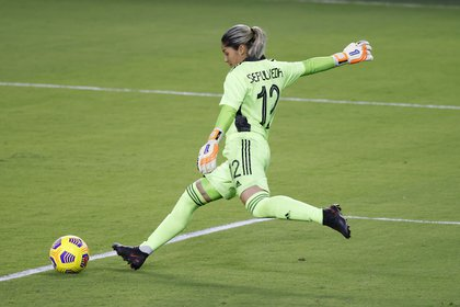 Jan 22, 2021; Orlando, Florida, USA;  Colombia goalkeeper Sandra Sepúlveda (12) kicks the ball away during the second half against the United States at Exploria Stadium. Mandatory Credit: Reinhold Matay-USA TODAY Sports
