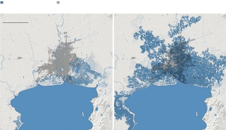Mapa en el se muestra a Tailandia en el 2050 con el vieja proyección (izquierda) y con la nueva (derecha).