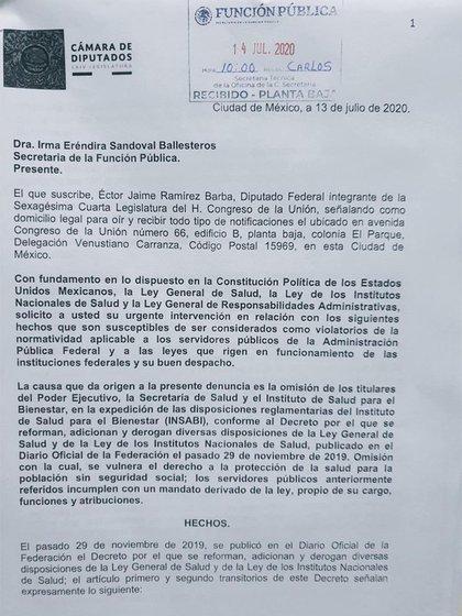 La queja de Ramírez Barba fue recibida en la Función Pública (Foto: Twitter @ectorjaime)