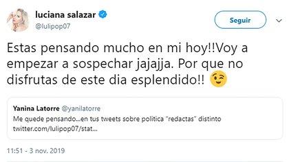 Fuerte cruce entre Luciana Salazar y Yanina Latorre (Fuente: twitter)